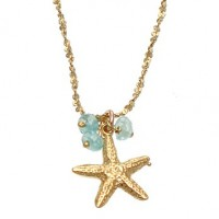 Catherine Weitzman Aquamarine Bead and Starfish Pendant Necklace - N725V-Weitzman - Handmade Celebrity Fashion Jewelry
