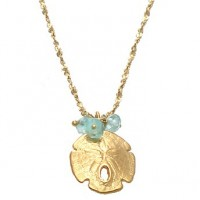 Catherine Weitzman Aquamarine Bead and Sand Dollar Pendant Necklace - N727V-Weitzman - Handmade Celebrity Fashion Jewelry