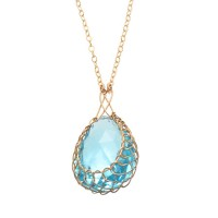 Misha of New York Blue Topaz Cabochon Wire Basket Pendant Necklace - NBLCB-misha - Handmade Celebrity Fashion Jewelry