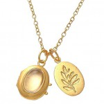 Clear Crystal Locket and Leaf Charm Necklace