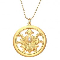 Julie Sandlau Cubic Zirconia Flower Pendant Necklace - NL143GD-sandlau - Handmade Celebrity Fashion Jewelry