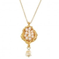 Pade Vavra Pearl Seed Pod Pendant - NSSP-pade - Handmade Celebrity Fashion Jewelry