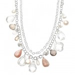 Fresh Water Pearl, Rock Crystal, Moonstone Necklace