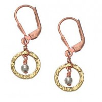 Wasabi by Jill Pearson Torio Circle Earrings Wrapped with Copper Wire - PA7962GGSGD-Wasabi - Handmade Celebrity Fashion Jewelry