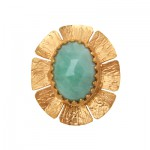 Emerald  Rose Cut Flower Ring