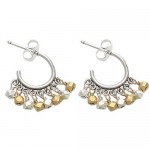 Pachinko Sterling Silver Hoop Earrings with Silver and Gold Vermeil Beads