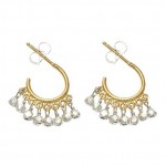 Pachinko Gold Vermeil Hoop Earrings with Sterling Silver Beads