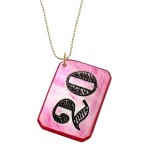 1920's Mother of Pearl Pink Rectangle Casino Chip Necklace