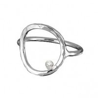 Adina Signature Circle Diamond Sterling Silver Ring - Handmade Celebrity Jewelry - R037SIGD-adina