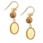 Citrine Rose Cut Drop Earrings