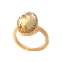 Kevia Citrine Rococo Lace Ring on Delicate Band - RCR100-kevia - Handmade Celebrity Fashion Jewelry