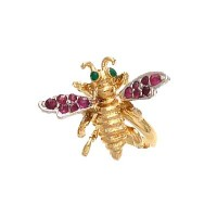 Pade Vavra Gold Vermeil Honey Bee with Ruby Wings and Emerald Eyes Ring - RHBR-pade - Handmade Celebrity Fashion Jewelry