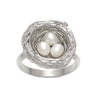 Pade Vavra Rhodium Plated Fresh Water Pearl Nest Ring - RPNR-pade - Handmade Celebrity Fashion Jewelry