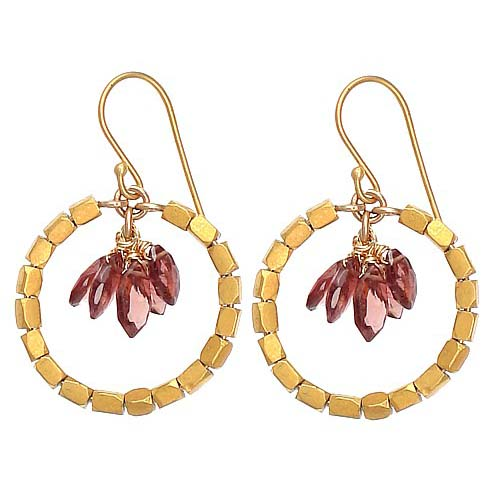 Wendy Mink Garnet Dangle Hoop Earrings - Handmade Celebrity Jewelry - PE118-wendy