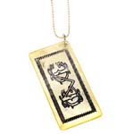 Page Sargisson 1920's Mother of Pearl Yellow CMC Rectangle Casino Chip Necklace - Handmade Celebrity Jewelry - C-6 Casino-sargisson