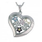 What is in Your Heart? Silver Pendant with CZ Necklace
